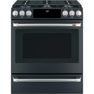 "Cafe Appliances30"" Smart Slide-In, Front-Control, Dual-Fuel Range with Warming Drawer"