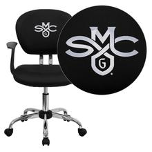 Saint Mary's College of California Gaels Embroidered Black Mesh Task Chair with Arms and Chrome Base