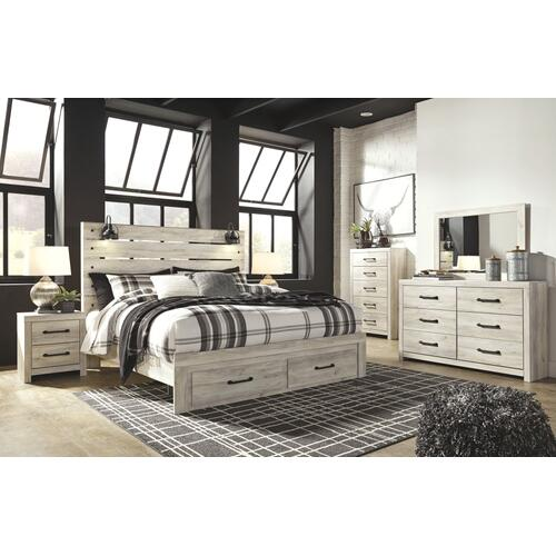 King Panel Bed With 2 Storage Drawers With Mirrored Dresser, Chest and 2 Nightstands