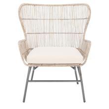 Lenu Rattan Accent Chair W/ Cushion - Grey White Wash / White / Black
