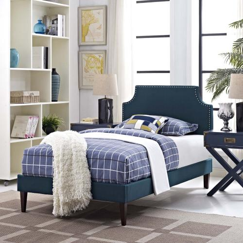 Corene Twin Fabric Platform Bed with Squared Tapered Legs in Azure
