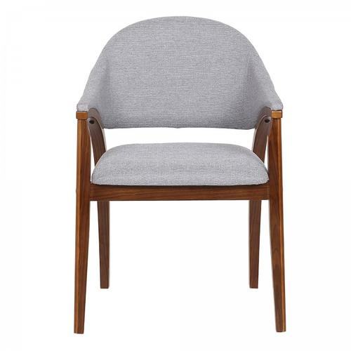 Meadow Contemporary Dining Chair in Walnut Wood Finish and Grey Fabric - Set of 2