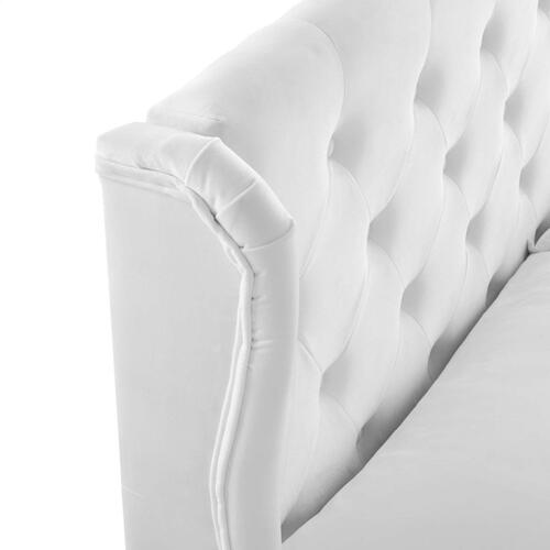 Penelope Tufted Wingback Queen Performance Velvet Platform Bed in White