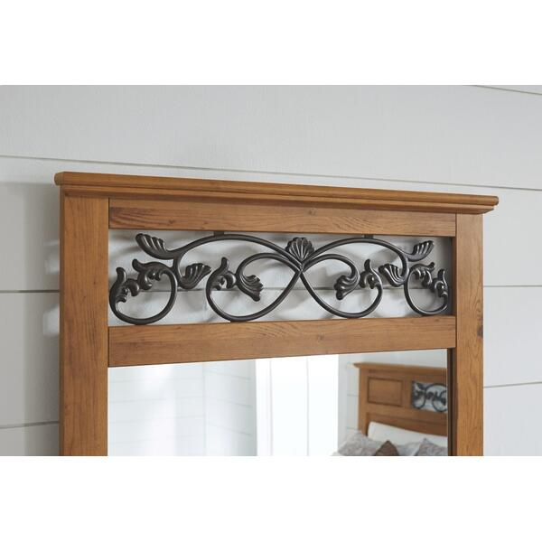 Queen/full Panel Headboard With Mirrored Dresser and 2 Nightstands