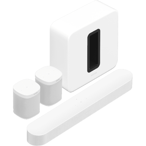 Gallery - White- Surround Sound Set with Beam + Sub