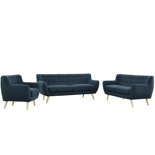 Remark 3 Piece Living Room Set in Azure