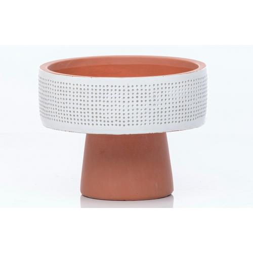 Footed Drum Dimple Bowl MIN 4 PCS white on terra cotta