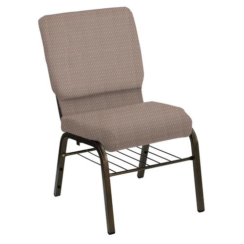 Flash Furniture - HERCULES Series 18.5''W Church Chair in Bedford Dune Fabric with Book Rack - Gold Vein Frame