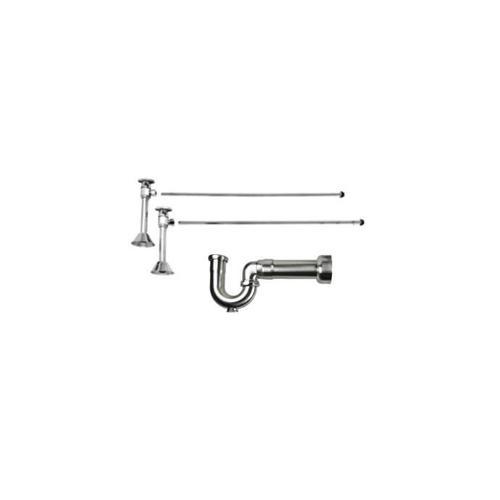 Lavatory Supply Kit w/ Massachusetts P-Trap - Angle Sweat - Brass Oval Handle - Contemporary - Polished Brass