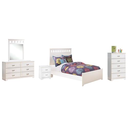 Full Panel Bed With Mirrored Dresser, Chest and Nightstand