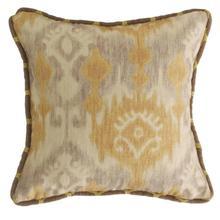 Casablanca Reversible Throw Pillow, Taupe & Flaxen Ikat