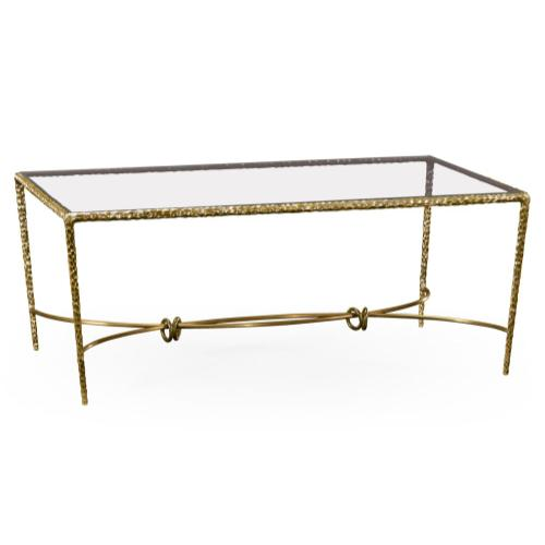 Hammered Light Brown Brass Rectangular Coffee Table