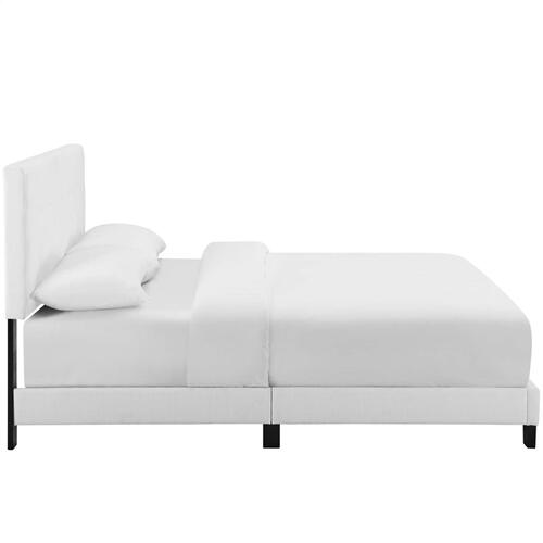 Melanie Twin Tufted Button Upholstered Fabric Platform Bed in White