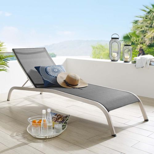 Savannah Mesh Chaise Outdoor Patio Aluminum Lounge Chair in Black