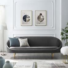 Sublime Vertical Curve Back Performance Velvet Sofa in Gray