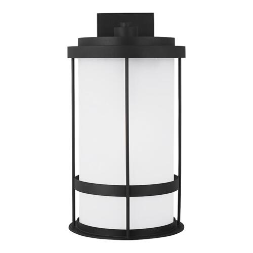 Wilburn Extra Large One Light Outdoor Wall Lantern Black Bulbs Inc
