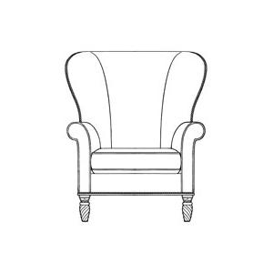 Leather/Fabric Wing Chair