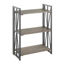 Indy Bookcase - Black Metal, Brown Wood