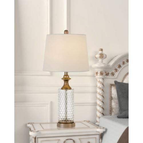 100W Breda Glass Table Lamp With Taper Drum Hardback Fabric Shade (Priced And Sold As Pairs)
