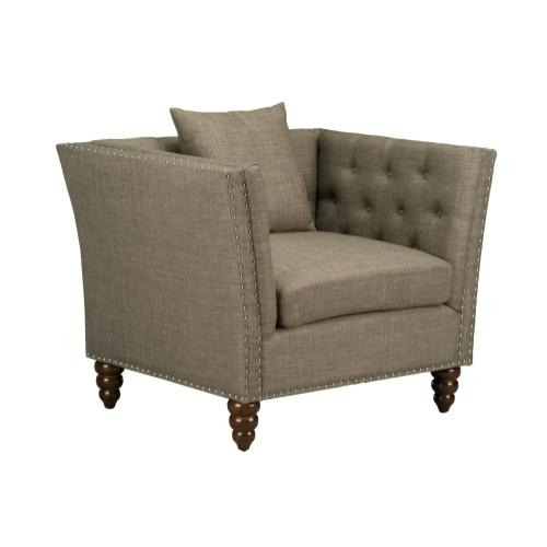 Westerly Tufted Arm Chair, Pebble Grey
