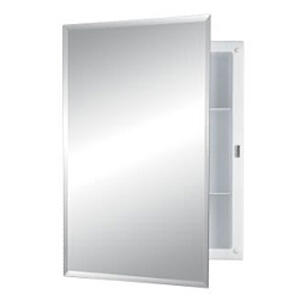 """Recess Mount Cabinet - Frameless Mirror with 1/2"""" Bevel Edge"""