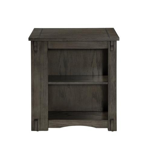 1-door and 2 Open Shelves Side Table, Grey