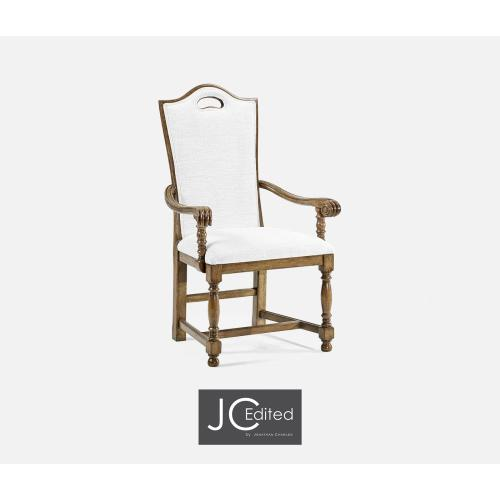 High Back Medium Driftwood Dining Arm Chair, Upholstered in COM