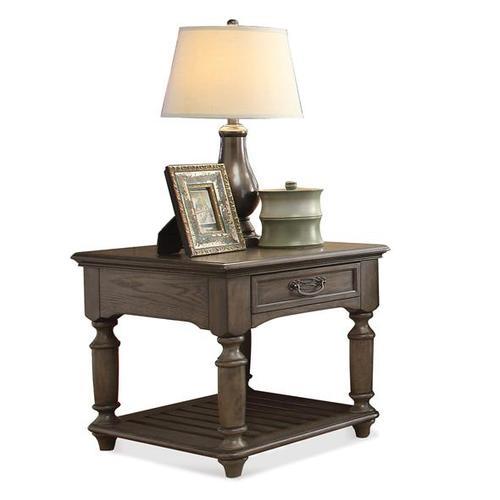 Riverside - Belmeade Rectangular Side Table Old World Oak finish