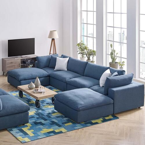 Commix Down Filled Overstuffed 6 Piece Sectional Sofa Set in Azure