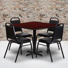 Product Image - 36'' Square Mahogany Laminate Table Set with X-Base and 4 Black Trapezoidal Back Banquet Chairs