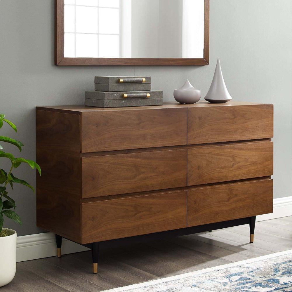 Caima 6-Drawer Dresser in Walnut