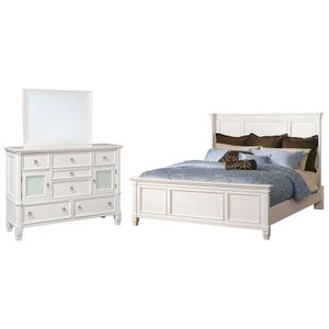 Queen Panel Bed With Mirrored Dresser