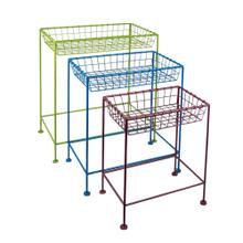 S/3 Metal Tray Tables, Multicolor