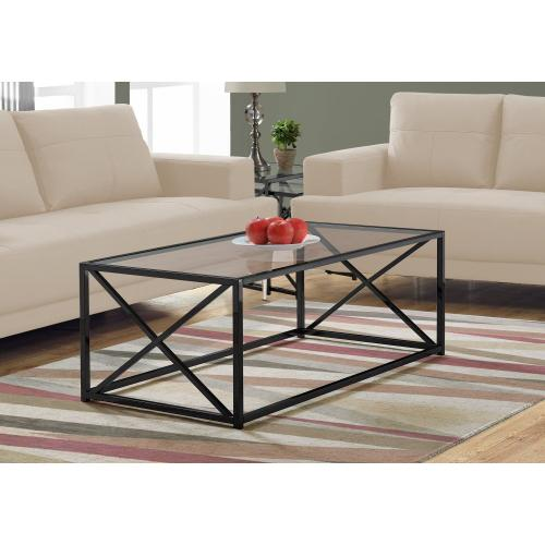 "COFFEE TABLE - 44""L / BLACK NICKEL METAL / TEMPERED GLASS"