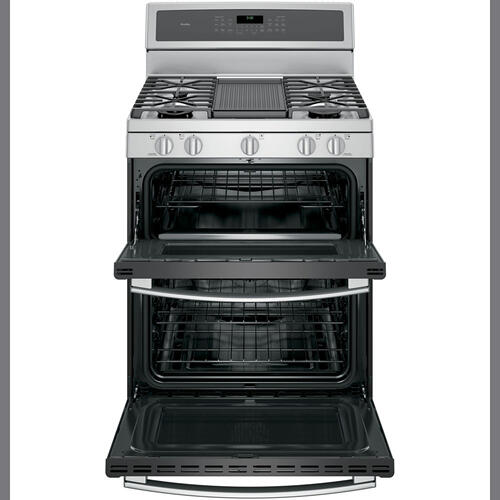 """GE Profile 30"""" Gas Freestanding Convection Range Stainless Steel PCGB980ZEJSS"""
