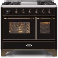 Majestic II 40 Inch Dual Fuel Liquid Propane Freestanding Range in Glossy Black with Bronze Trim