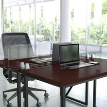 """Product Image - Clear Acrylic Desk Partition, 12""""H x 60""""L (Hardware Included)"""