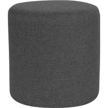 See Details - Barrington Upholstered Round Ottoman Pouf in Dark Gray Fabric