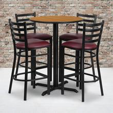 Product Image - 30'' Round Natural Laminate Table Set with X-Base and 4 Ladder Back Metal Barstools - Burgundy Vinyl Seat