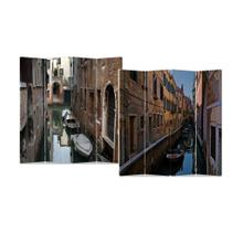 See Details - 4-Panel Double Sided Painted Canvas Room Divider Screen Venice Water street