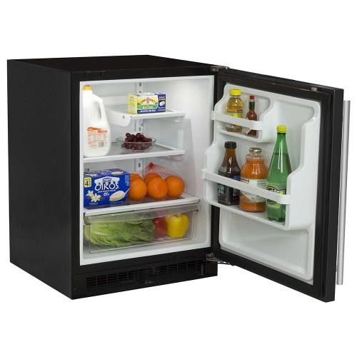 Marvel - 24-In Low Profile Built-In All Refrigerator With Maxstore Bin with Door Style - Black, Door Swing - Right