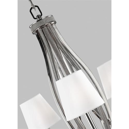 Pave 9 - Light Chandelier Polished Nickel