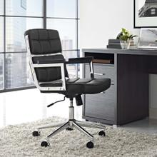 Portray Highback Upholstered Vinyl Office Chair in Black