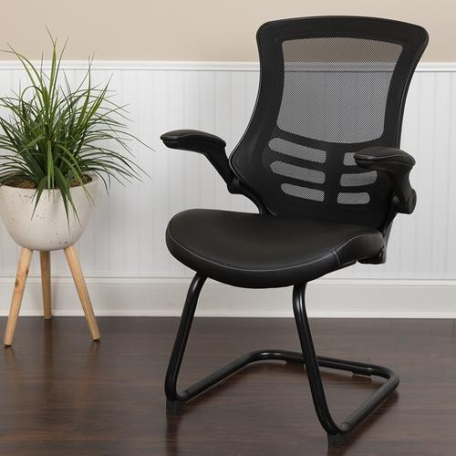 Gallery - Black Mesh Sled Base Side Reception Chair with White Stitched LeatherSoft Seat and Flip-Up Arms
