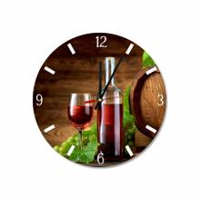 Oak Wine Keg, Glass & Bottle Round Acrylic Wall Clock