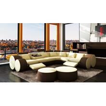 Divani Casa 3087 - Modern Beige and Brown Bonded Leather Sectional Sofa & Coffee Table