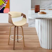 """See Details - Arya 30"""" Swivel Bar Stool in Cream Faux Leather and Walnut Wood"""