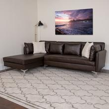 See Details - Back Bay Upholstered Accent Pillow Back Sectional with Left Side Facing Chaise in Brown LeatherSoft