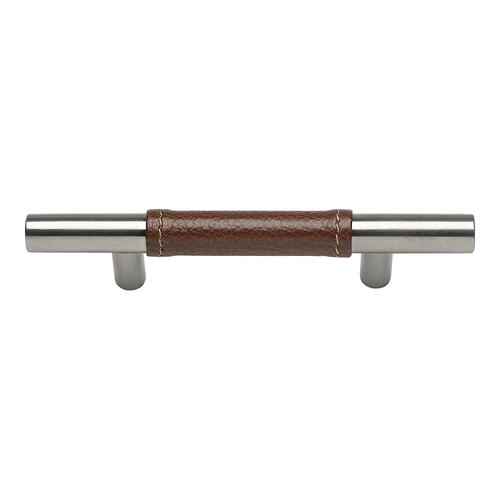 Zanzibar Brown Leather Pull 3 Inch (c-c) - Stainless Steel