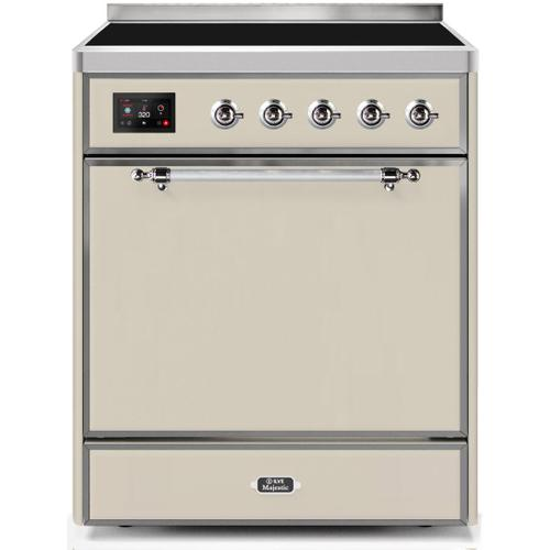 Product Image - Majestic II 30 Inch Electric Freestanding Range in Antique White with Chrome Trim